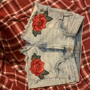 American Eagle High-Rise Rose Embroidered Shorts